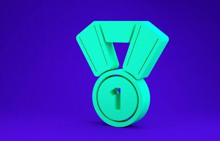 Green Medal icon isolated on blue background. Winner symbol. Minimalism concept. 3d illustration 3D render
