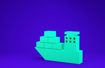 Green Cargo ship icon isolated on blue background. Minimalism concept. 3d illustration 3D render