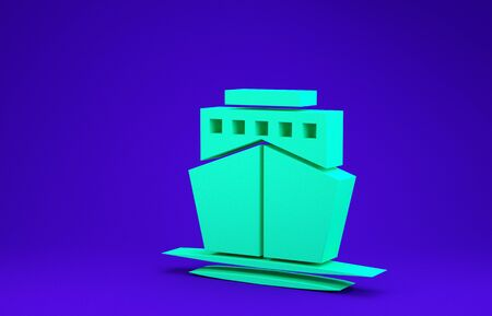 Green Ship icon isolated on blue background. Minimalism concept. 3d illustration 3D render Stockfoto
