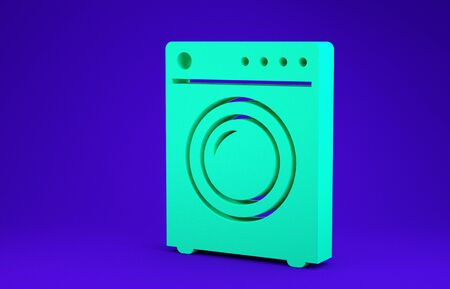 Green Washer icon isolated on blue background. Washing machine icon. Clothes washer - laundry machine. Home appliance symbol. Minimalism concept. 3d illustration 3D render