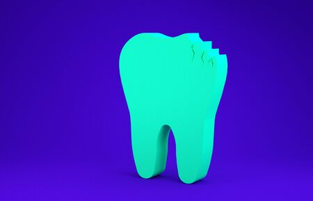 Green Broken tooth icon isolated on blue background. Dental problem icon. Dental care symbol. Minimalism concept. 3d illustration 3D render