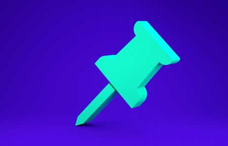 Green Push pin icon isolated on blue background. Thumbtacks sign. Minimalism concept. 3d illustration 3D render