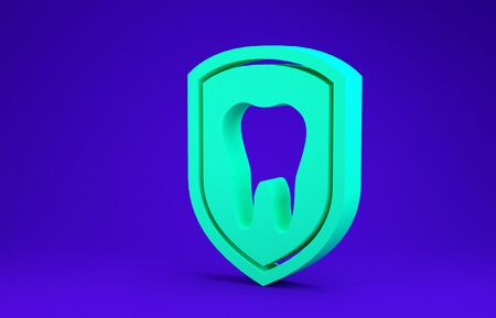 Green Dental protection icon isolated on blue background. Tooth on shield logo icon. Minimalism concept. 3d illustration 3D render Stock fotó