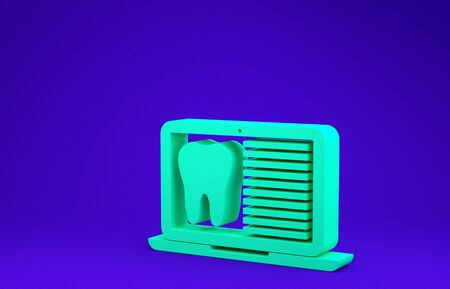 Green Laptop with dental card or patient medical records icon isolated on blue background. Dental insurance. Dental clinic report. Minimalism concept. 3d illustration 3D render