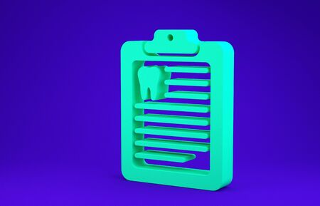 Green Clipboard with dental card or patient medical records icon isolated on blue background. Dental insurance. Dental clinic report. Minimalism concept. 3d illustration 3D render