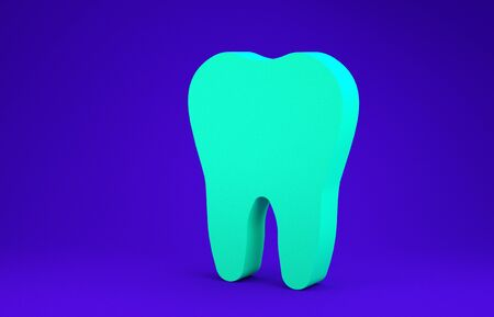 Green Tooth icon isolated on blue background. Tooth symbol for dentistry clinic or dentist medical center and toothpaste package. Minimalism concept. 3d illustration 3D render