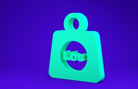Green Weight pounds icon isolated on blue background. Pounds weight block for weight lifting and scale. Mass symbol. Minimalism concept. 3d illustration 3D render