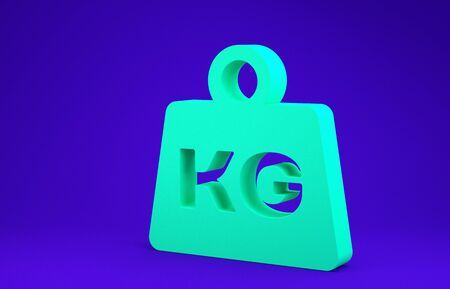 Green Weight icon isolated on blue background. Kilogram weight block for weight lifting and scale. Mass symbol. Minimalism concept. 3d illustration 3D render