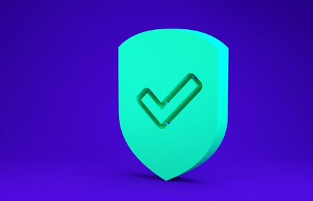 Green Shield with check mark icon isolated on blue background. Protection symbol. Security check Icon. Tick mark approved icon. Minimalism concept. 3d illustration 3D render