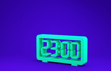 Green Digital alarm clock icon isolated on blue background. Electronic watch alarm clock. Time icon. Minimalism concept. 3d illustration 3D render Stok Fotoğraf - 134637266