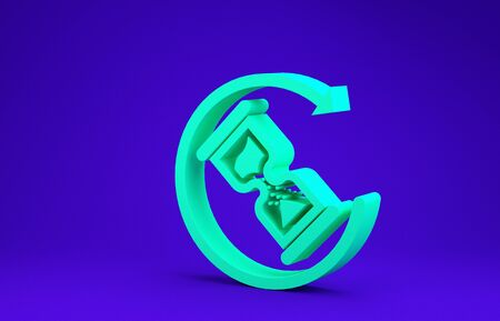 Green Waiting icon isolated on blue background. Wait time icon. Hourglass clock. Minimalism concept. 3d illustration 3D render