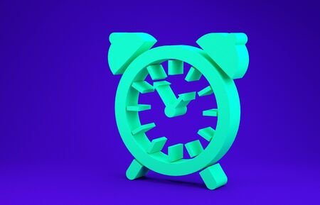 Green Alarm clock icon isolated on blue background. Wake up, get up concept. Time sign. Minimalism concept. 3d illustration 3D render Stok Fotoğraf