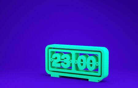 Green Retro flip clock icon isolated on blue background. Wall flap clock, number counter template, all digits with flips. Minimalism concept. 3d illustration 3D render