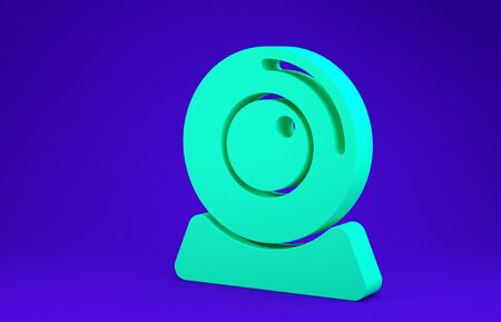 Green Web camera icon isolated on blue background. Chat camera. Webcam icon. Minimalism concept. 3d illustration 3D render