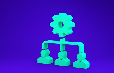 Green Lead management icon isolated on blue background. Minimalism concept. 3d illustration 3D render
