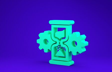 Green Hourglass and gear icon isolated on blue background. Time Management symbol. Clock and gear icon. Business concept. Minimalism concept. 3d illustration 3D render
