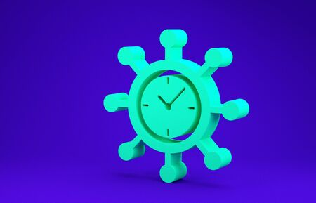 Green Clock and gear icon isolated on blue background. Time Management symbol. Business concept. Hub and spokes and clock solid icon. Minimalism concept. 3d illustration 3D render