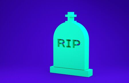 Green Tombstone with RIP written on it icon isolated on blue background. Grave icon. Minimalism concept. 3d illustration 3D render 스톡 콘텐츠