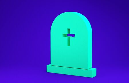 Green Tombstone with cross icon isolated on blue background. Grave icon. Minimalism concept. 3d illustration 3D render 스톡 콘텐츠