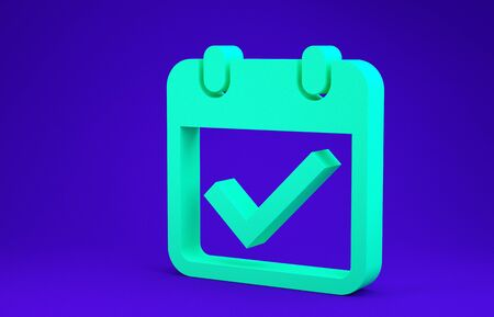 Green Calendar with check mark icon isolated on blue background. Minimalism concept. 3d illustration 3D render