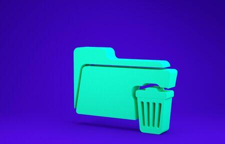 Green Delete folder icon isolated on blue background. Folder with recycle bin. Delete or error folder. Close computer information folder. Minimalism concept. 3d illustration 3D render
