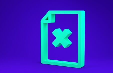 Green Delete file document icon isolated on blue background. Rejected document icon. Cross on paper. Minimalism concept. 3d illustration 3D render Фото со стока