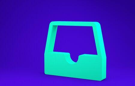 Green Social media inbox icon isolated on blue background. Social network element, symbol. Minimalism concept. 3d illustration 3D render 版權商用圖片