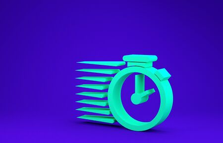 Green Stopwatch icon isolated on blue background. Time timer sign. Minimalism concept. 3d illustration 3D render Stok Fotoğraf - 134637381