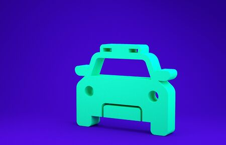 Green Police car and police flasher icon isolated on blue background. Emergency flashing siren. Minimalism concept. 3d illustration 3D render