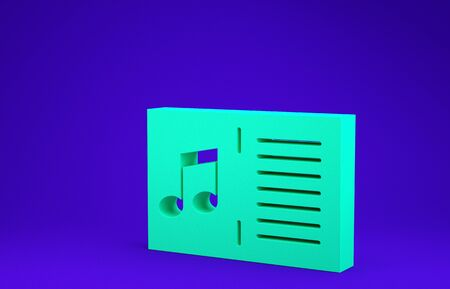 Green Music book with note icon isolated on blue background. Music sheet with note stave. Notebook for musical notes. Minimalism concept. 3d illustration 3D render Foto de archivo - 134637439