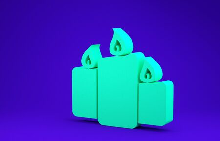 Green Burning candles icon isolated on blue background. Old fashioned lit candles. Cylindrical aromatic candle sticks with burning flames. Minimalism concept. 3d illustration 3D render Zdjęcie Seryjne