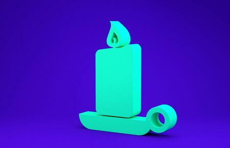 Green Burning candle in candlestick icon isolated on blue background. Old fashioned lit candle. Cylindrical candle stick with burning flame. Minimalism concept. 3d illustration 3D render