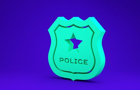Green Police badge icon isolated on blue background. Sheriff badge sign. Minimalism concept. 3d illustration 3D render