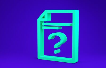 Green Unknown document icon isolated on blue background. File with Question mark. Hold report, service and global search sign. Minimalism concept. 3d illustration 3D render