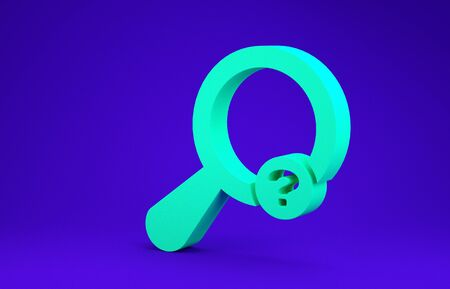 Green Unknown search icon isolated on blue background. Magnifying glass and question mark. Minimalism concept. 3d illustration 3D render