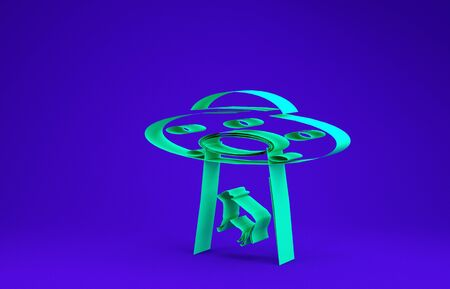 Green UFO abducts cow icon isolated on blue background. Flying saucer. Alien space ship. Futuristic unknown flying object. Minimalism concept. 3d illustration 3D render