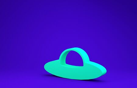 Green UFO flying spaceship icon isolated on blue background. Flying saucer. Alien space ship. Futuristic unknown flying object. Minimalism concept. 3d illustration 3D render
