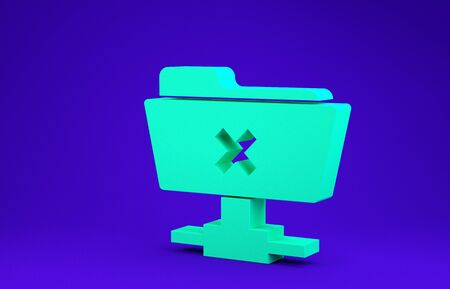 Green FTP cancel operation icon isolated on blue background. Software update, transfer protocol, router, teamwork tool management, copy process. Minimalism concept. 3d illustration 3D render