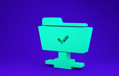 Green FTP operation successful icon isolated on blue background. Software update, transfer protocol, teamwork tool management, copy process. Minimalism concept. 3d illustration 3D render