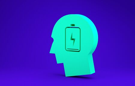 Green Male head with low battery icon isolated on blue background. Tired man. Minimalism concept. 3d illustration 3D render