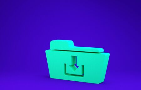 Green Folder download icon isolated on blue background. Minimalism concept. 3d illustration 3D render Stockfoto - 134642006