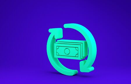 Green Refund money icon isolated on blue background. Financial services, cash back concept, money refund, return on investment, savings account. Minimalism concept. 3d illustration 3D render