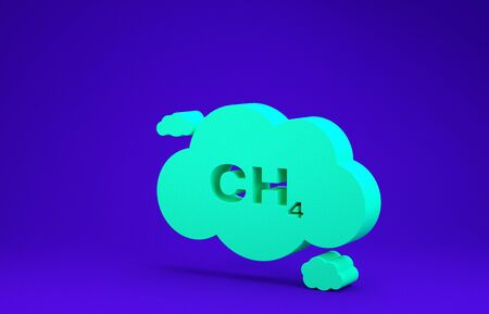 Green Methane emissions reduction icon isolated on blue background. CH4 molecule model and chemical formula. Marsh gas. Natural gas. Minimalism concept. 3d illustration 3D render