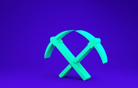 Green Crossed pickaxe icon isolated on blue background. Blockchain technology, cryptocurrency mining, bitcoin, altcoins, digital money market. Minimalism concept. 3d illustration 3D render