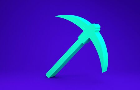 Green Pickaxe icon isolated on blue background. Blockchain technology, cryptocurrency mining, bitcoin, digital money market, cryptocoin wallet. Minimalism concept. 3d illustration 3D render