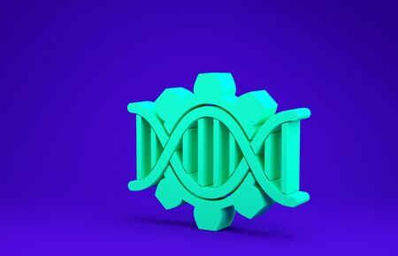 Green Genetic engineering icon isolated on blue background. DNA analysis, genetics testing, cloning, paternity testing. Minimalism concept. 3d illustration 3D render Stock fotó