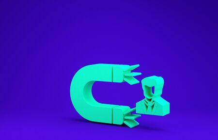 Green Customer attracting icon isolated on blue background. Customer retention, support and service. Customer man attracting with magnet. Minimalism concept. 3d illustration 3D render