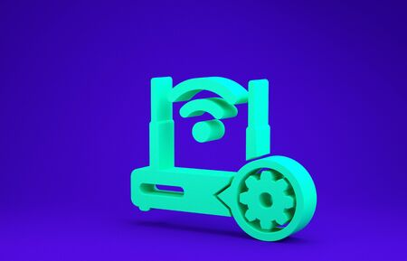 Green Router and wifi signal and gear icon isolated on blue background. Adjusting app, service concept, setting options, maintenance, repair, fixing. Minimalism concept. 3d illustration 3D render