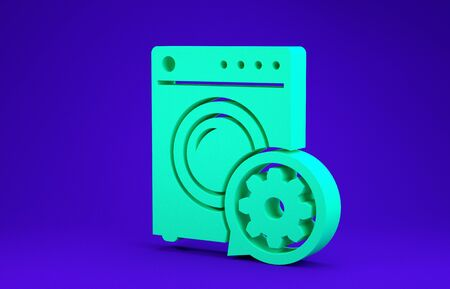 Green Washer and gear icon isolated on blue background. Adjusting app, service concept, setting options, maintenance, repair, fixing. Minimalism concept. 3d illustration 3D render