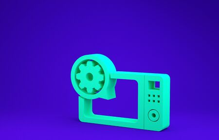 Green Microwave oven and gear icon isolated on blue background. Adjusting app, service concept, setting options, maintenance, repair, fixing. Minimalism concept. 3d illustration 3D render